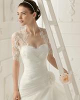 Wholesale Half Sleeve Lace Bolero - 2016 Free Shipping Custom New Elegant Short Sleeves White Lace Bolero Wedding Jackets Bridal Wraps Custom Made Cheap Hot Selling New Fashion