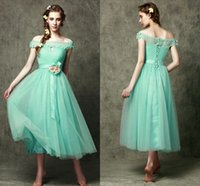 Wholesale Green Flower Dresses - 2015 Elegant Cheap Bridesmaid Dresses Hunter Green Tulle A-Line Off the Shoulder Sash Flowers Lace Up Back Wedding Party Maid of Honor Dress