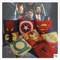Wholesale Green Lantern Casing - The Avengers Captain America Iron Man Green Lantern Superman The Flash pillow cushion sofa nap by pillow case cover boy room ornament