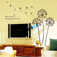 Wholesale Dandelions Sticker - New and High Quality Flower Dandelions Wall Stickers Art Decal Transparent Vinyl Wallpaper Decor 150 sets