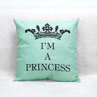 Wholesale princess pillow cases - English Letters I'm A Princess Crown Cushion Covers Nordic Home Decorative Cushion Cover Linen Pillow Case