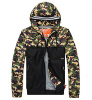 Wholesale Winter Parka Khaki - HOT sale Super Camouflage Jackets hoodie clothes hood by air men Outerwear patchwork Winter parka Coats Men's Clothing Army Green Apparel