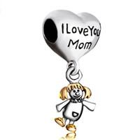 Wholesale Pandora Dangle Girl Charm - I love you mom litter girl daughter family drop European style dangle bead infant lucky charms Fits Pandora charm bracelet