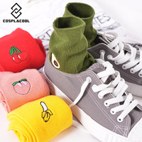 Wholesale Cute Banana Cartoon - Cute Cartoon Fruit Print Avocado Banana Cherry Peach Girls Kawaii Socks meias Korean Harajuku Embroidery Pile Heap Funny Socks