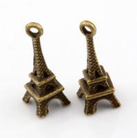 Wholesale Eiffel Tower Antique Bronze Charm - Hot ! 200pcs Antique bronze Zinc Alloy Eiffel Tower Charms Pendant 8 x 23mm DIY Jewelry