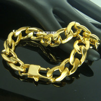 Wholesale 18k solid yellow gold filled for sale - Group buy b167 l men s k yellow gold filled bracelet solid curb chain cm Length