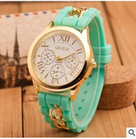 Wholesale Silicon Rubber Belt - 2017 Fashion Christmas Geneva Watch Shadow lovely Colorful Style Rubber Silicon Candy Jelly Unisex Women Silicone Quartz gift chain Watches