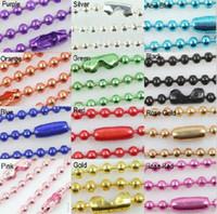 ingrosso collana della catena della sfera blu-Commercio all'ingrosso - 100 pz Spedizione gratuita 2.4mm 70cm Ball Beads Collana Catena Nero Rosa Blu Catene miste 12 colori