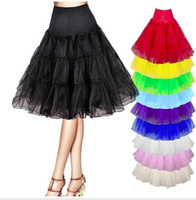 Wholesale Short Black Crinoline - Short Tulle Skirt Petticoats for Bridal Wedding Dresses Black White Red Yellow None-hoop Crinoline Petticoat Summer Tutu Dresses CPA423
