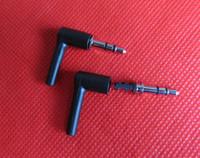 fiş kulaklık diy toptan satış-10 takım / 1 paket Iyi DIY siyah 3 Kutup 3.5mm Erkek 90 derece L-şekilli stereo kulaklık Fiş Onarım Kulaklık Jack Ses Lehimleme