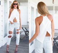 tropische bluse großhandel-Sommer Camis Schwarz Weiß Damen Tanks Tops Femme Roupas Femininas Cropped Camisole Regatas Tropische Crop Top Camis Tops Bluse Chemise