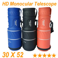 Wholesale Film Device - 2015 Hot Dual Focus HD Monocular Telescope Green Film Lens 30x52 Travel Spotting Scope Zoom Monoculars telescopes Outdoor Device New 3 color