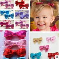 Wholesale Purple Butterfly Hair Clips - baby hair bows Cute Sequin Butterfly Baby Hair Clips Korean Bowknot hair accessories for girls princess huxin hair Hairbands H075