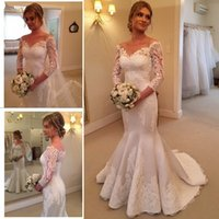 Wholesale Long Train Silk Robe - Exquisite Sheer Lace Mermaid Wedding Dresses with 3 4 Long Sleeves Sexy Off shoulder Satin Robe De Moriee Grace Bridal Gowns