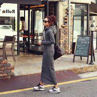 gri hoodie elbisesi toptan satış-2015 Sonbahar Kış Kadın Siyah Gri Kazak Elbise Sıcak Kürk Polar Hoodies Uzun Kollu İnce Maxi Uzun Elbiseler Vestidos Femininas