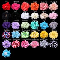 Wholesale Clothing Accessories Beads Pearls - Chiffon Glass Flowers with Pearl Beads Fit DIY KIDS Headband Hairclips Shoes Brooch Ornament Baby Girl Clothing Hair Accessories