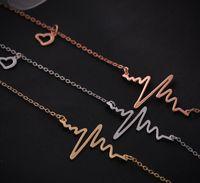 Wholesale Heartbeat Gifts - EKG Charm Necklace Electrocardiogram Pendant Heartbeat Heart Rhythm ECG China Jewelry Wholesale ECG Jewelry Valentine Day Gift