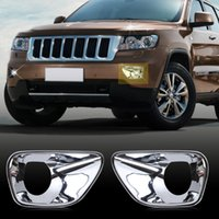 Wholesale 2pcs pair Chrome Front Fog Lamp Light Cover Trim For Jeep Grand Cherokee Car stylings