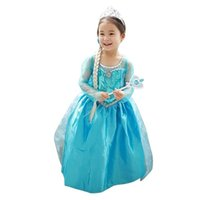 Wholesale Cartoons Clothing For Kids - Hot Sell wholesale clothing Cartoon Dress For Kids Girl Frozen ELsa Pricess Dress Loel Princess Inspired Girls Party Costume