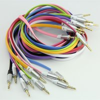 Wholesale Iphone Audio Jack Plug - 3.5mm Male to Male Stereo Jack Plug Audio Flat Cable 1m 3ft cables For iphone ipod PC MP3 MP4