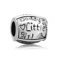 Wholesale Little Girls Bracelets - China Factory Daddy's little girl Metal Slider Bead Big Hole European Spacer Charms Fit Pandora Chamilia Biagi Charm Bracelet