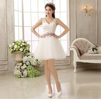 Wholesale Coctail Prom Dress - Free shipping Elegant White Lace Prom Dress Women Short Cocktail Dress Sleeveless Coctail Dresses For Party Robe De Cocktail LF238