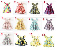 niedliche mädchen-stil großhandel-11 Arten INS Kirsche Zitrone Baumwolle Backless Mädchen Kleider Floral Beach Dress Cute Baby Sommer Backless Neckholder Kleid Kids Vintage Flower Dress