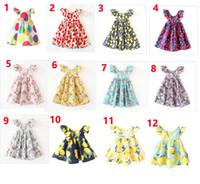 Wholesale vintage cute dress style - 12 Styles INS Cherry lemon Cotton Backless Girls Dresses Floral Beach Dress Cute Baby Summer Backless Halter Dress Kids Vintage Flower Dress