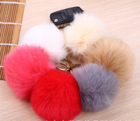 Wholesale Copies Bags - epack free 120pcs 13 colors 8CM fake copy Faux Rabbit fur ball plush key chain for car key ring Bag Pendant car keychain
