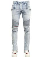 Wholesale Men Blue Jeans Size 36 - MEN STYLE BIKER DENIM Moto Jeans Mondial Patchwork Distressed Light Blue New Size 30 32 34 36