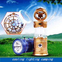 Wholesale Fans Indoor - Solar Powered With Fan Portable USB Phone Charge LED Light Collapsible Flashlight Hand Lantern 3 In 1 Outdoor Camping Hiking Lamp