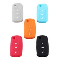 Wholesale Skoda Remote - NEW Car Key Chains Cover Auto Remote Silicone Case Holder For VW Skoda Various Colors Free shipping