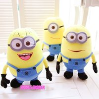 Wholesale Cheap Gifts Toys - Free Shipping Cheap Despicable Me Minions Plush Stuffed Toys 25 50cm 3D Eyes Minions Doll Yellow Kid Birthday Gift