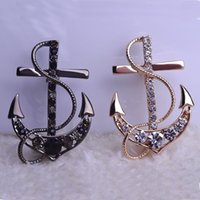 Wholesale Hijab Pin Brooches - New 2018 Ouro Joias Navi Navy Marine Sea Gold Anchor Crystal Brooches Bouquet Wedding Jewelry Collar Pin Hijab Pin Up Mix Lot