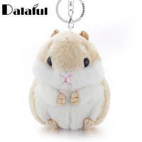 Wholesale Mini Handbag Tin - beijia Mini Hamster Keyrings Keychains Faux Rabbit Fur Pompom Fluffy Trinkets Car Handbag Pendant Key Chian Ring Holder K356