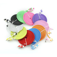 Wholesale chinese noodles resale online - 200pcs M FT Fabric Nylon Braided flat noodle Micro USB Cable for samsung s7 s6 s5 For Blackberry htc