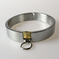 Wholesale Male Slave Collars - Wholesale-Collar Bondage Restrict Slave Collars Pure Stainless Steel Metal Collar with Lock Bondage Collar Female Male Neck Ring Sex Toy