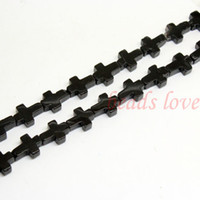 "Wholesale Black Stone Loose Beads - 1Strand 16""(25pcs)Natural stone ""Black Agate""Cross Loose Beads 12mm*17mm (w03003)Free Shipping"