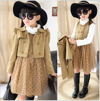 Wholesale Double Breasted Lace Coat - European And American Style Big Girls Dress Coat Set 2016 Girl Sleeveless Lace Gauze Vest Dresses+Double Breasted Coat 2pcs Children Outfits
