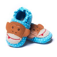 Wholesale Baby Monkey Shoes - 15pairs Blue Baby Boy Shoes Monkey 2016 Newest Newborn First Walkers Soft Bebe Shoe Children Moccasins Hot Sale