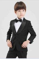 Wholesale Purple Pinstripe Pants - Shawl Lapel Kid's Wedding Formal Groom Tuxedos Flower Boys Children Party Suits 2 Piece (coat + pants) custom made