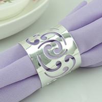 Wholesale Eco Tablewear - 500pcs lot Hollow Flower Napkin Rings Serviette Tablewear Holders Wedding Napkin Rings Party Hotel Table Decoration GX124