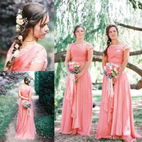 Wholesale Dresses Peach Chiffon - Peach Bridesmaid Dresses 2017 Hot Sale A Line Scoop Cap Sleeves with Lace Appliques Vintage Maid of Honor Dresses Long Chiffon Plus Sizes