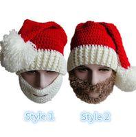 Wholesale Wholesale Mustache Beanies - New Christmas Warm Crochet Hats Men Women Adult Full Santa Claus Beard Beanies Mustache Mask Face Knitted Winter Ski Beard Hats