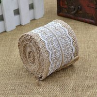 2M Rustic Wedding Centerpieces Decoração de festa Artesanato Vintage Natural Hessian Burlap White Lace Craft Ribbon Roll Burlap Trims Tape