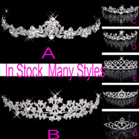 Wholesale free crowns - In Stock 2015 Free Shipping Rhinestone Crystal Wedding Party Prom Homecoming Crowns Band Princess Bridal Tiaras Hair Accessories Fashion
