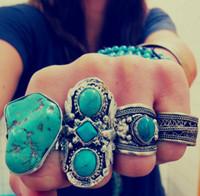 anéis de prata de declaração venda por atacado-Um Estilo Estilo Vintage Turca Liga De Prata Personalizado Escultura Antigo declaração de pedra Persa Turquesa Anéis de Dedo