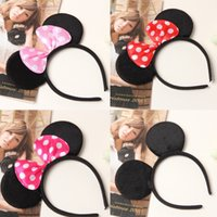 Wholesale Dress Ears - 2017 Kids Adult minnie mouse micky mouse ears headband Children's Hair Accessories Christmas Gift Costume Dress-Up Ears Headband girls A7810