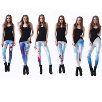 Wholesale Hot Woman Sexy Animals - wholesale Hot Fashion Sexy Women Lady Frozen Elsa Anna Printing Leggings Girl's pants Pencil Pant Trousers 7 color