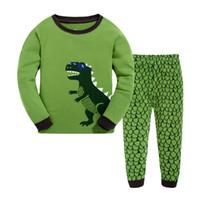Wholesale Dinosaur Pyjamas - Children Pajamas Nightwear Cartoon Dinosaur Pyjamas Two piece set Sleepwear homewear Cotton 2017 new Autumn Winter
